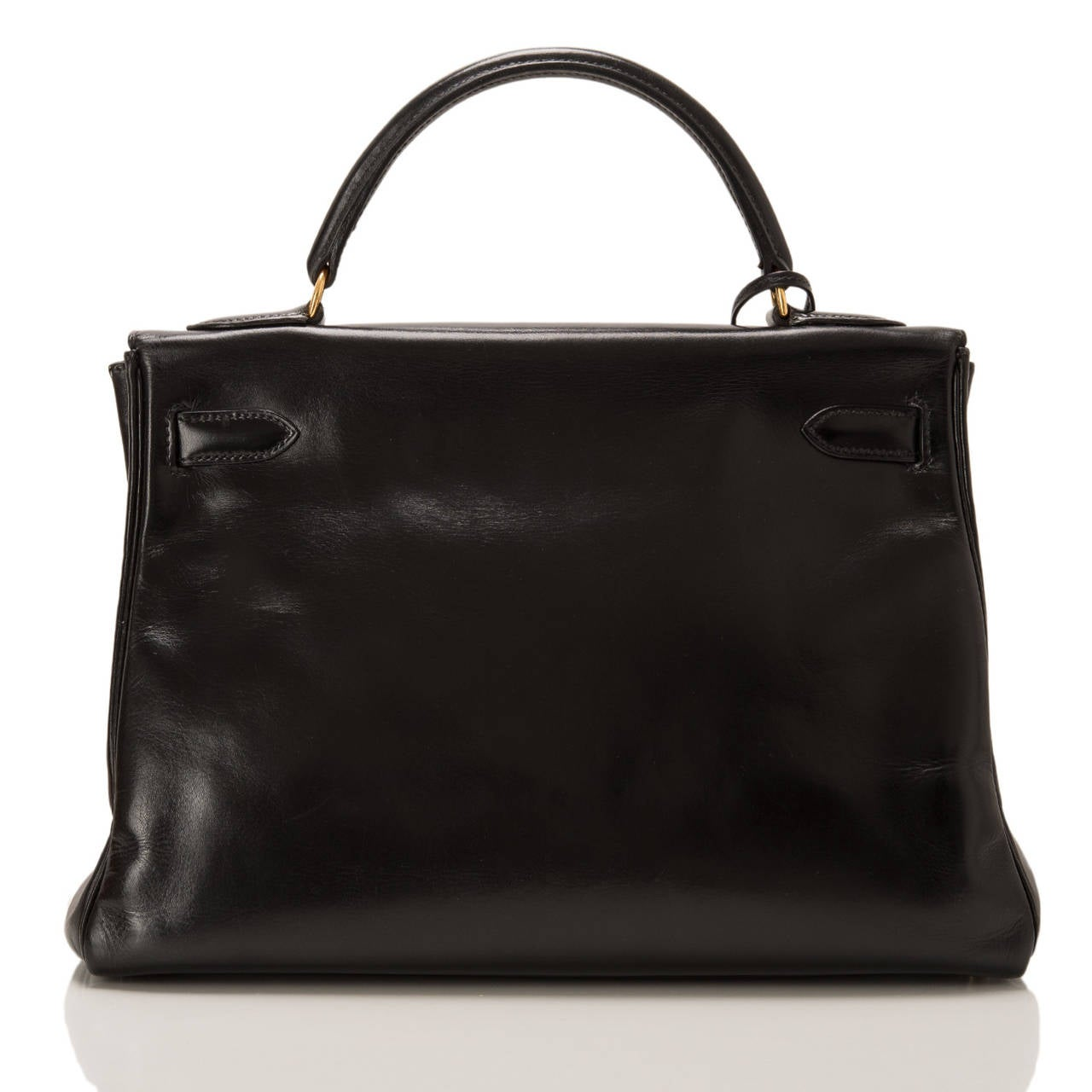 Hermes Vintage Black Box Kelly 32cm Gold Hardware In Excellent Condition For Sale In New York, NY
