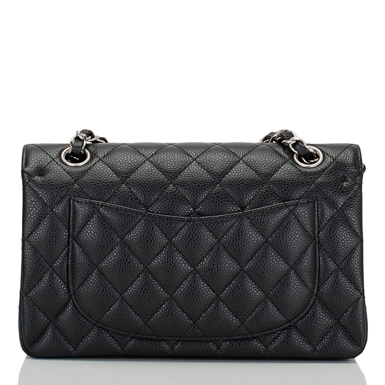 Chanel Black Quilted Caviar Small Classic Double Flap Bag In Excellent Condition For Sale In New York, NY