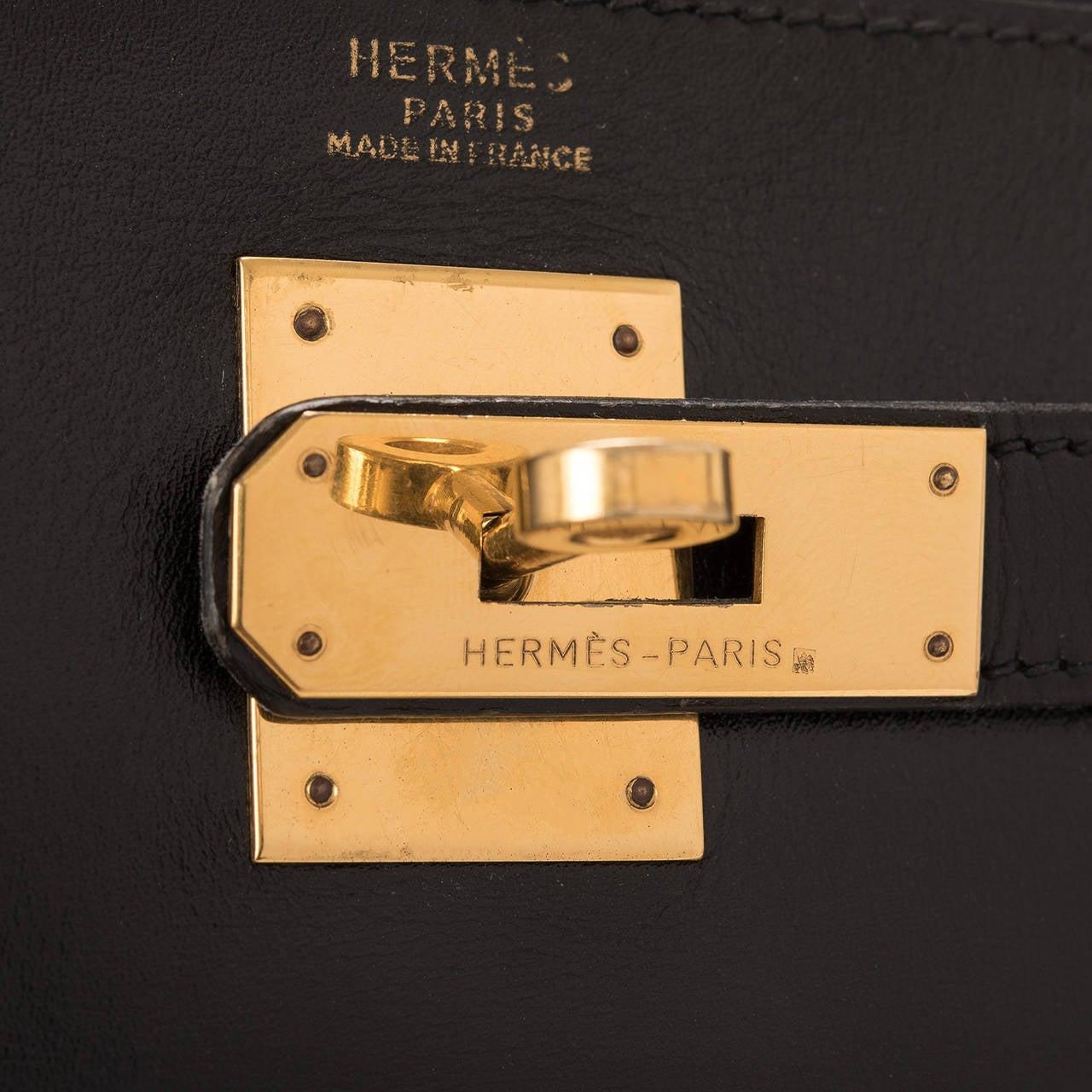 Hermes Vintage Black Box Kelly 32cm Gold Hardware For Sale 1