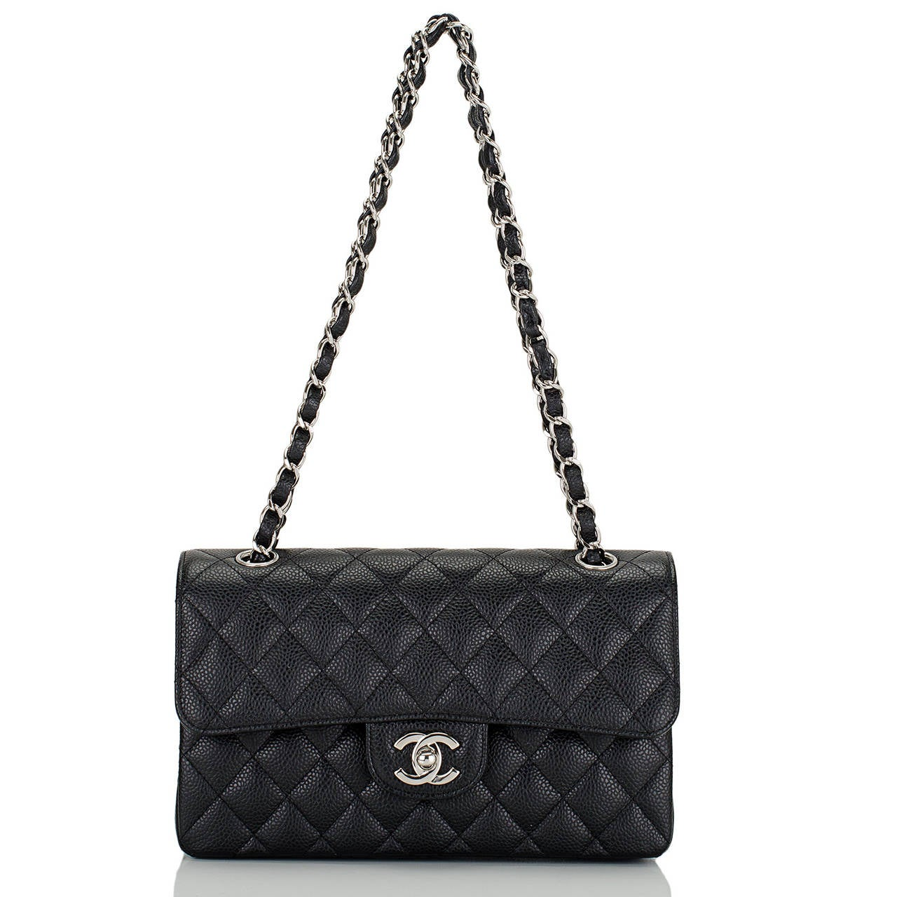 Chanel Black Quilted Caviar Small Classic Double Flap Bag For Sale 1
