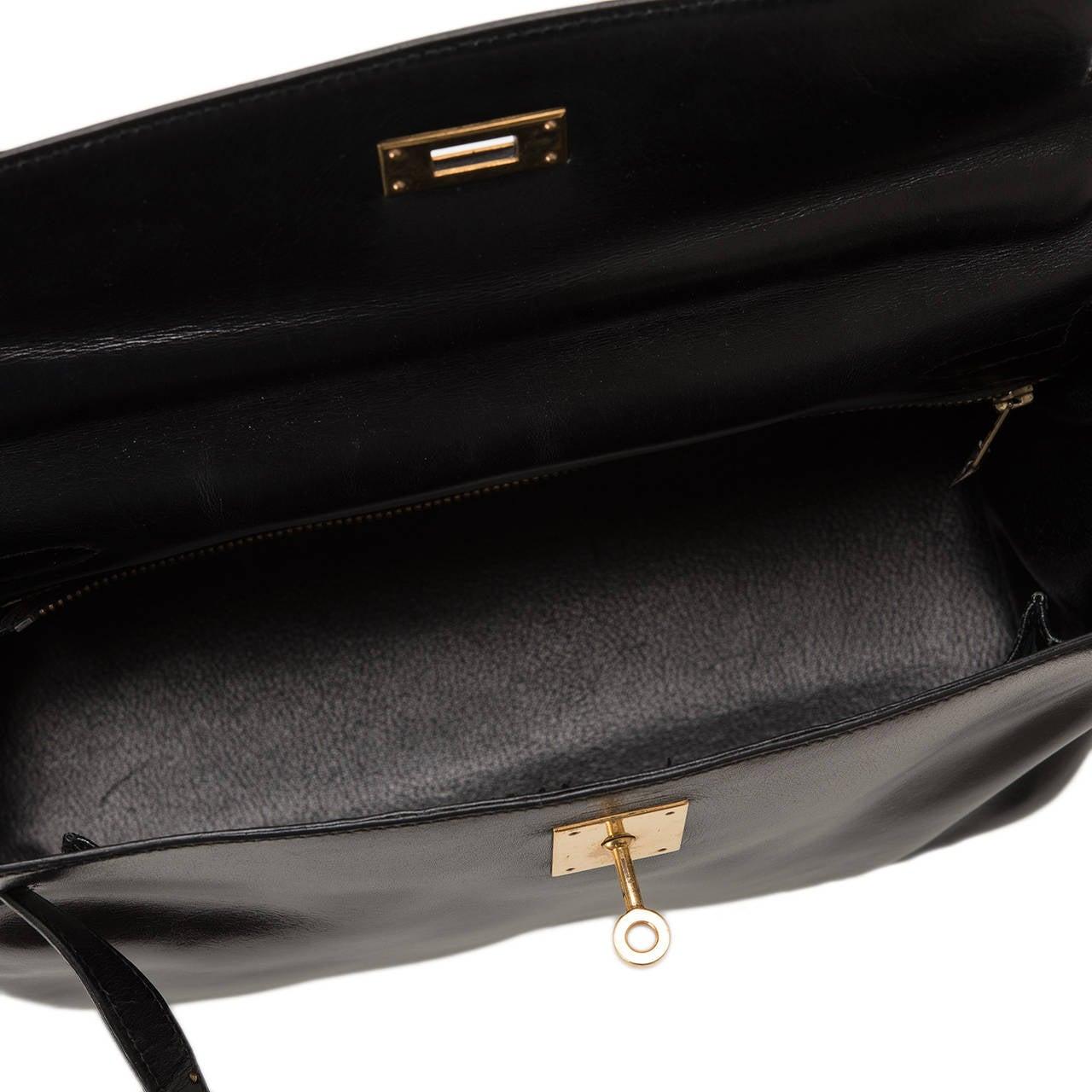 Hermes Vintage Black Box Kelly 32cm Gold Hardware For Sale 2