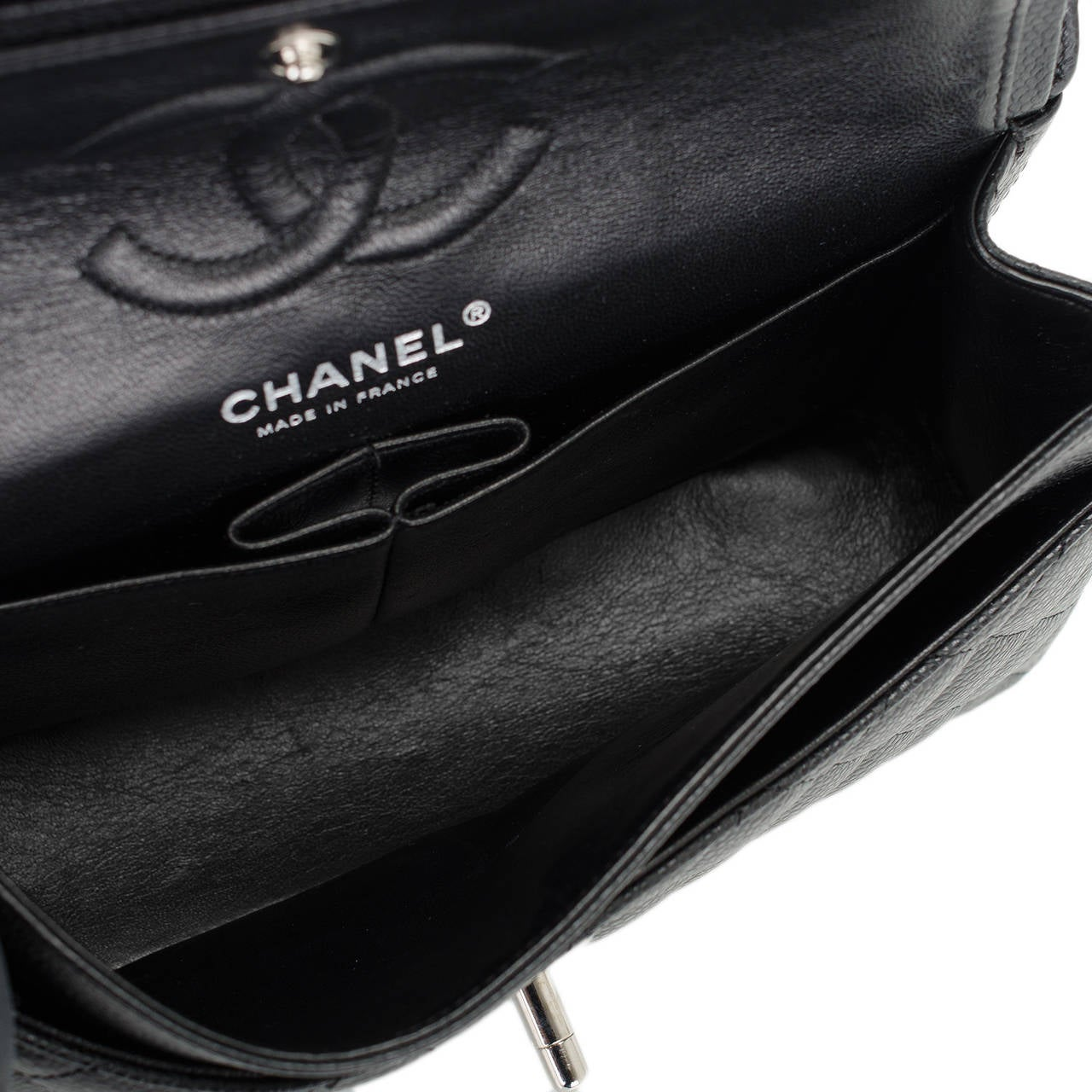 Chanel Black Quilted Caviar Small Classic Double Flap Bag For Sale 2