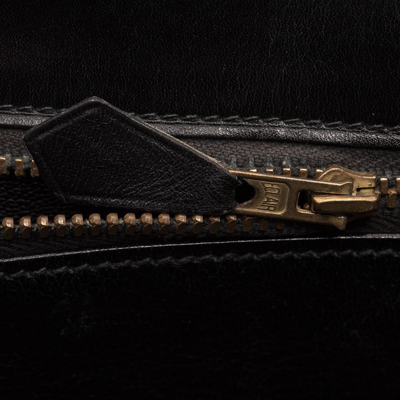 Hermes Vintage Black Box Kelly 32cm Gold Hardware For Sale 3