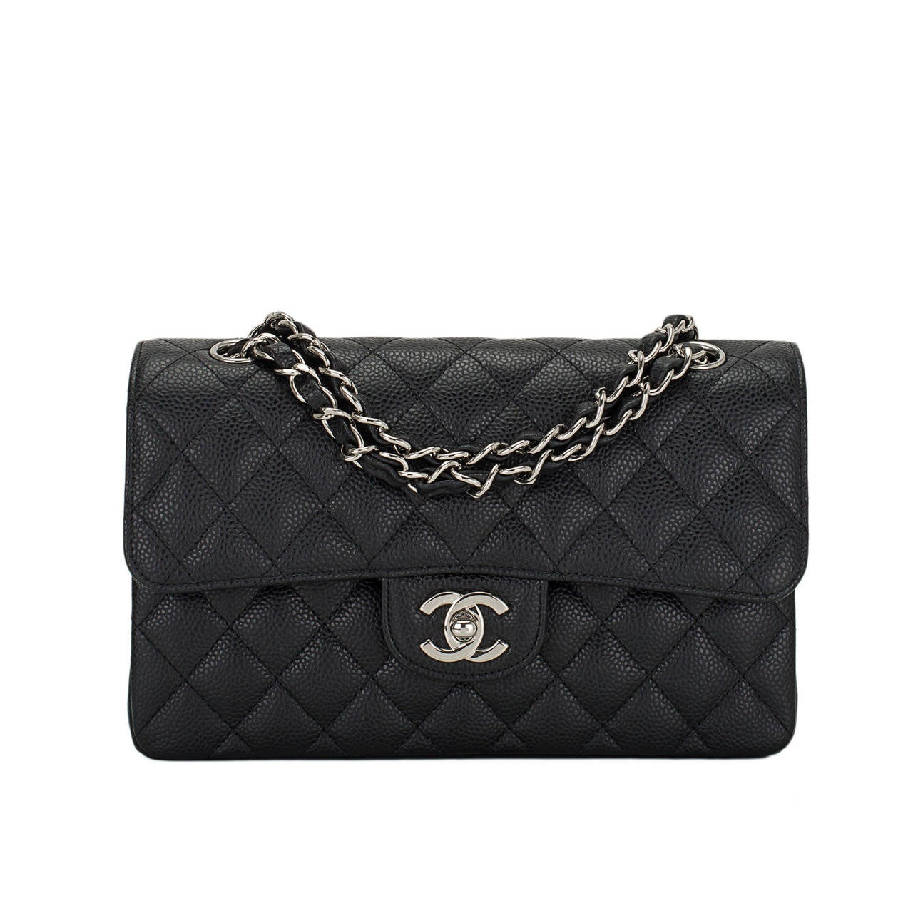 Chanel Black Quilted Caviar Small Classic Double Flap Bag For Sale