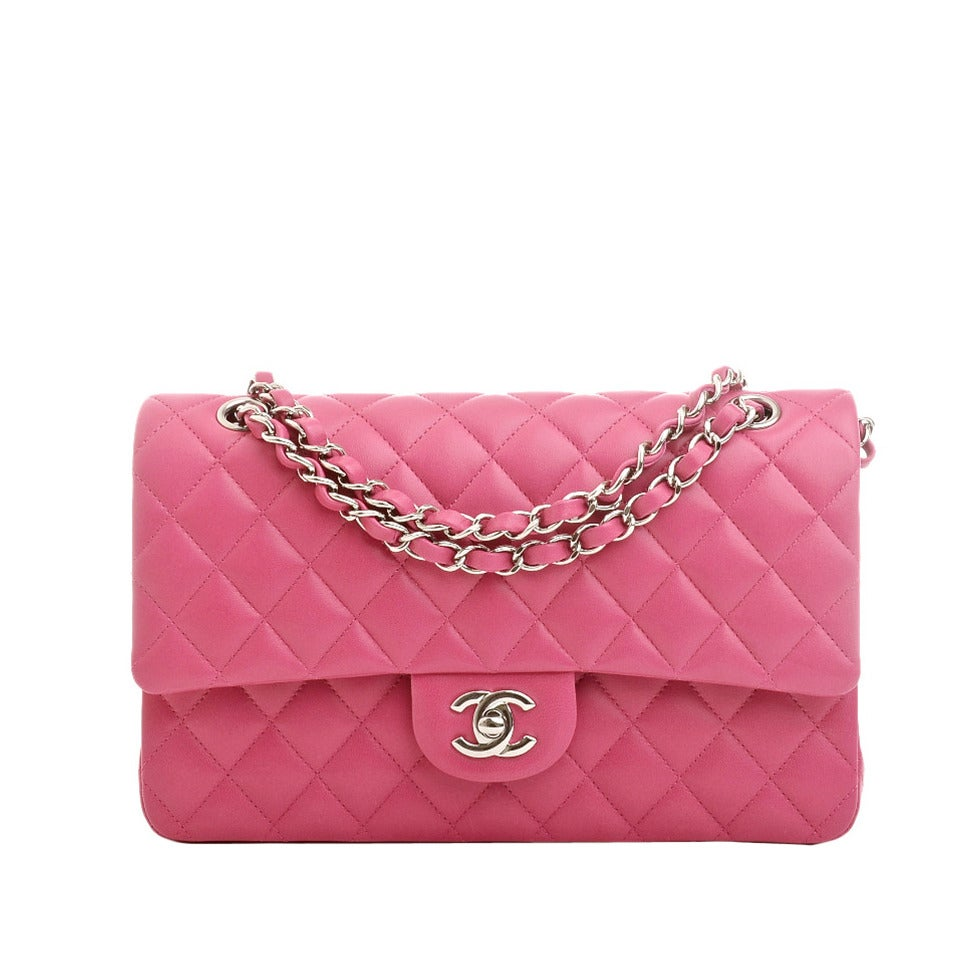 Chanel Pink Quilted Lambskin Medium Classic Double Flap