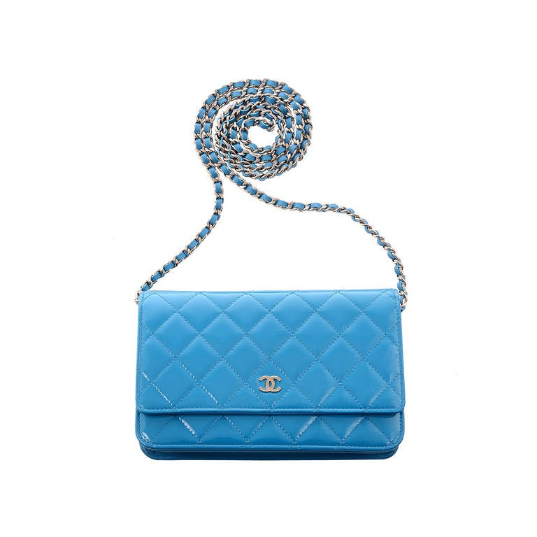 Chanel Turquoise Blue Patent Wallet On Chain Woc At 1stdibs