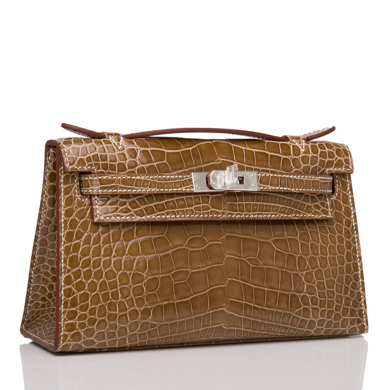 replica hermes purses - hermes orange h shiny alligator mini kelly pochette, discount ...
