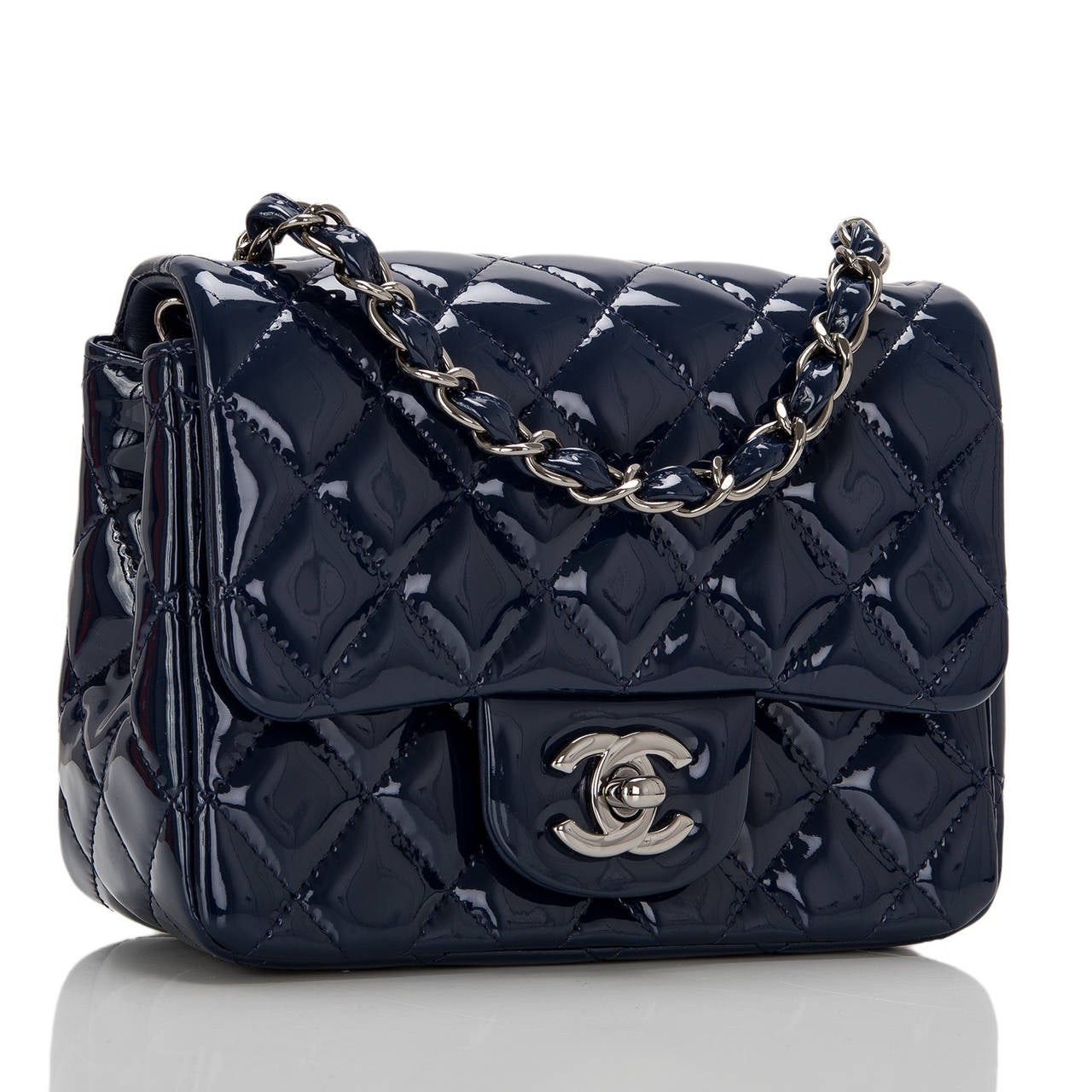 Chanel navy quilted Square Mini Classic flap bag with ruthenium hardware.