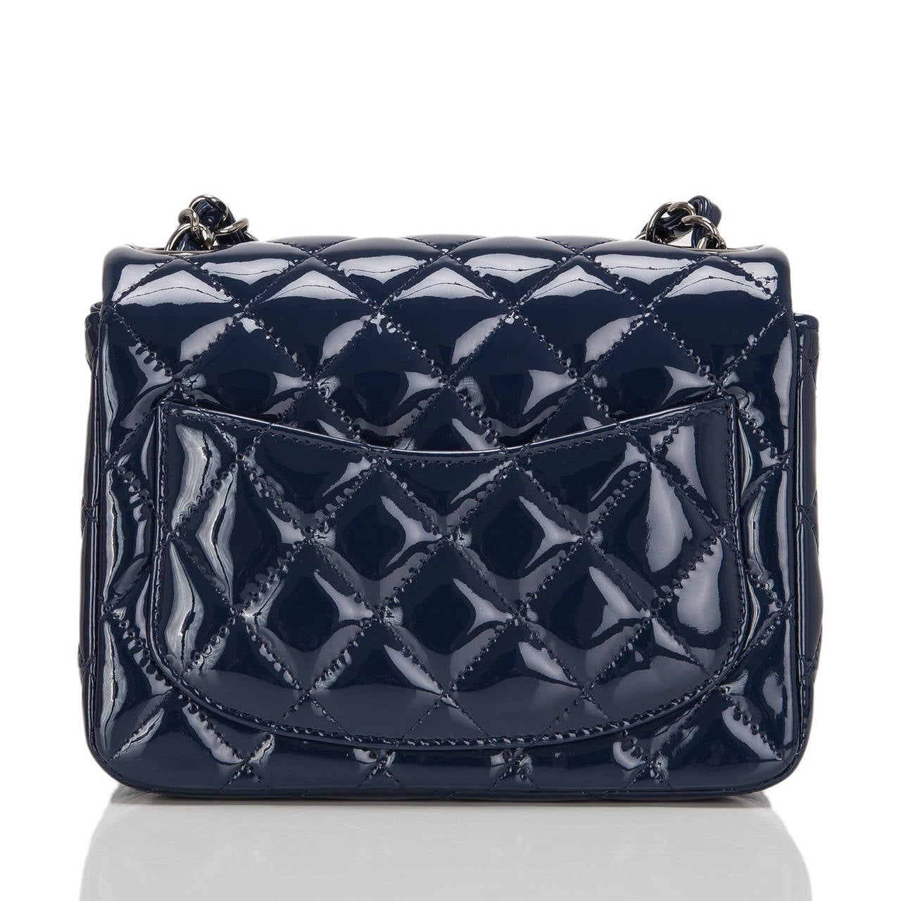 Chanel Navy Quilted Patenet Square Mini Classic Flap Bag In New Never_worn Condition For Sale In New York, NY