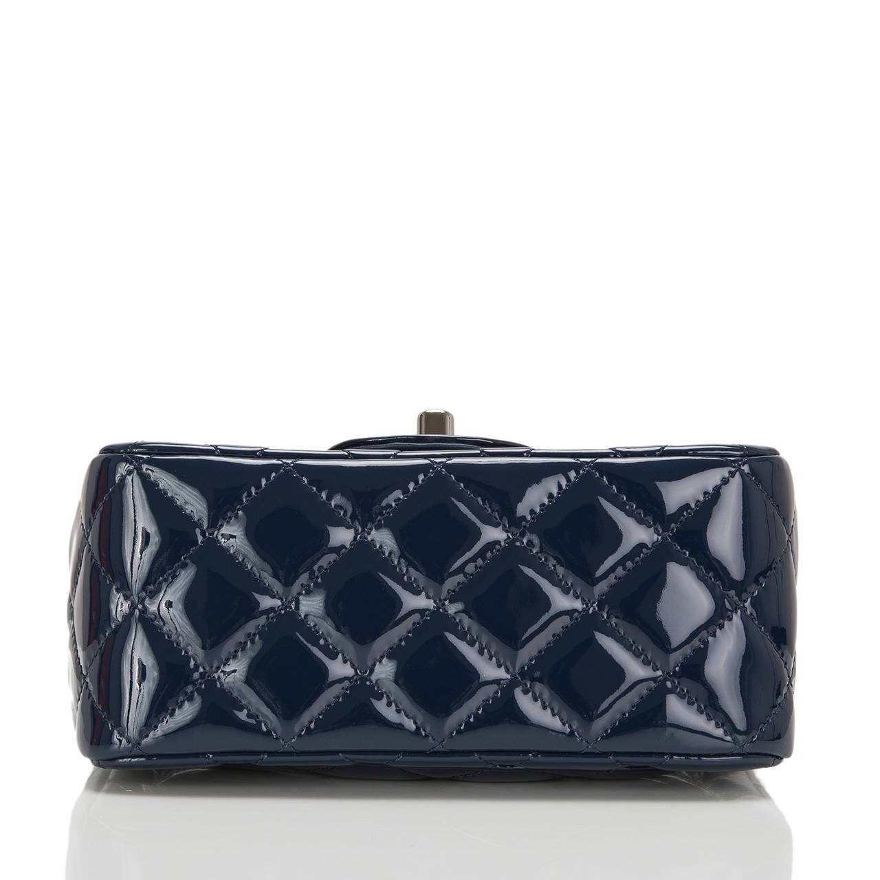 Women's Chanel Navy Quilted Patenet Square Mini Classic Flap Bag For Sale