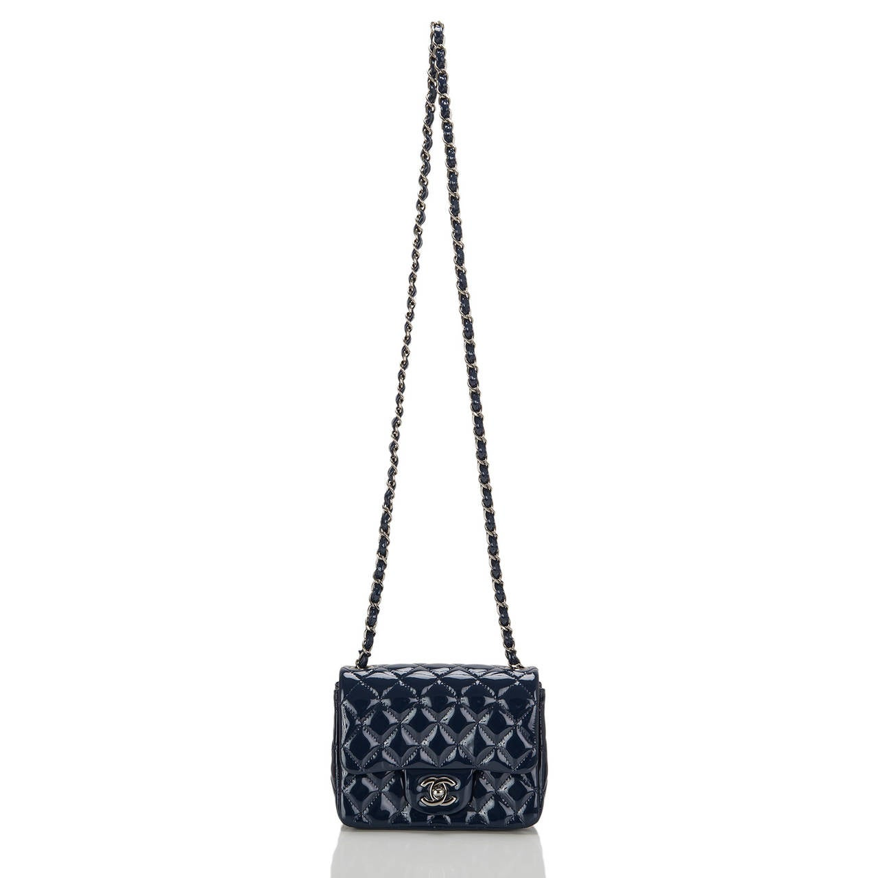 Chanel Navy Quilted Patenet Square Mini Classic Flap Bag For Sale 1