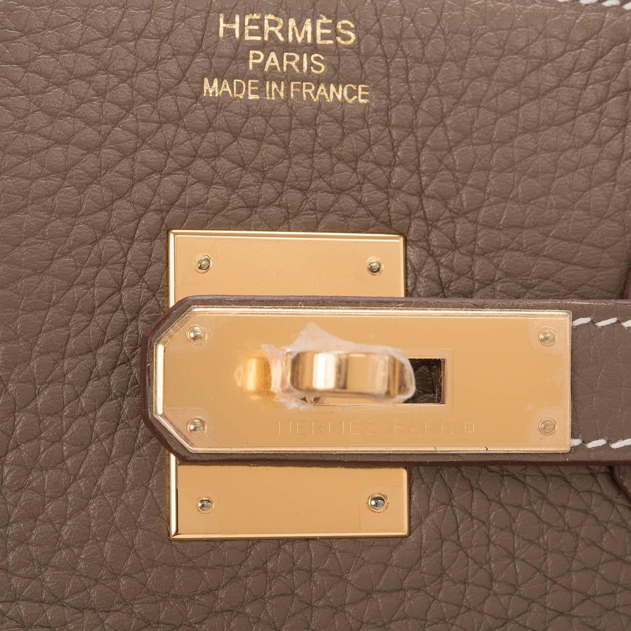 Hermes Etoupe Clemence Leather Birkin 35cm Gold Hardware
