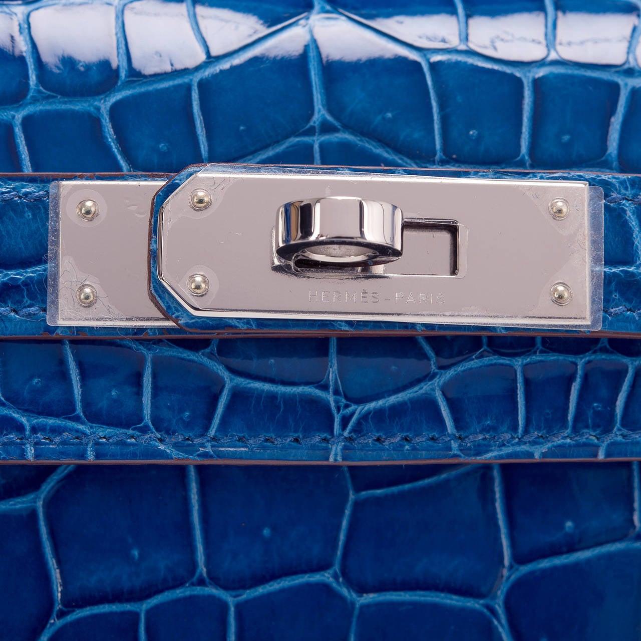Hermes Mykonos Shiny Porosus Crocodile Kelly Cut at 1stdibs