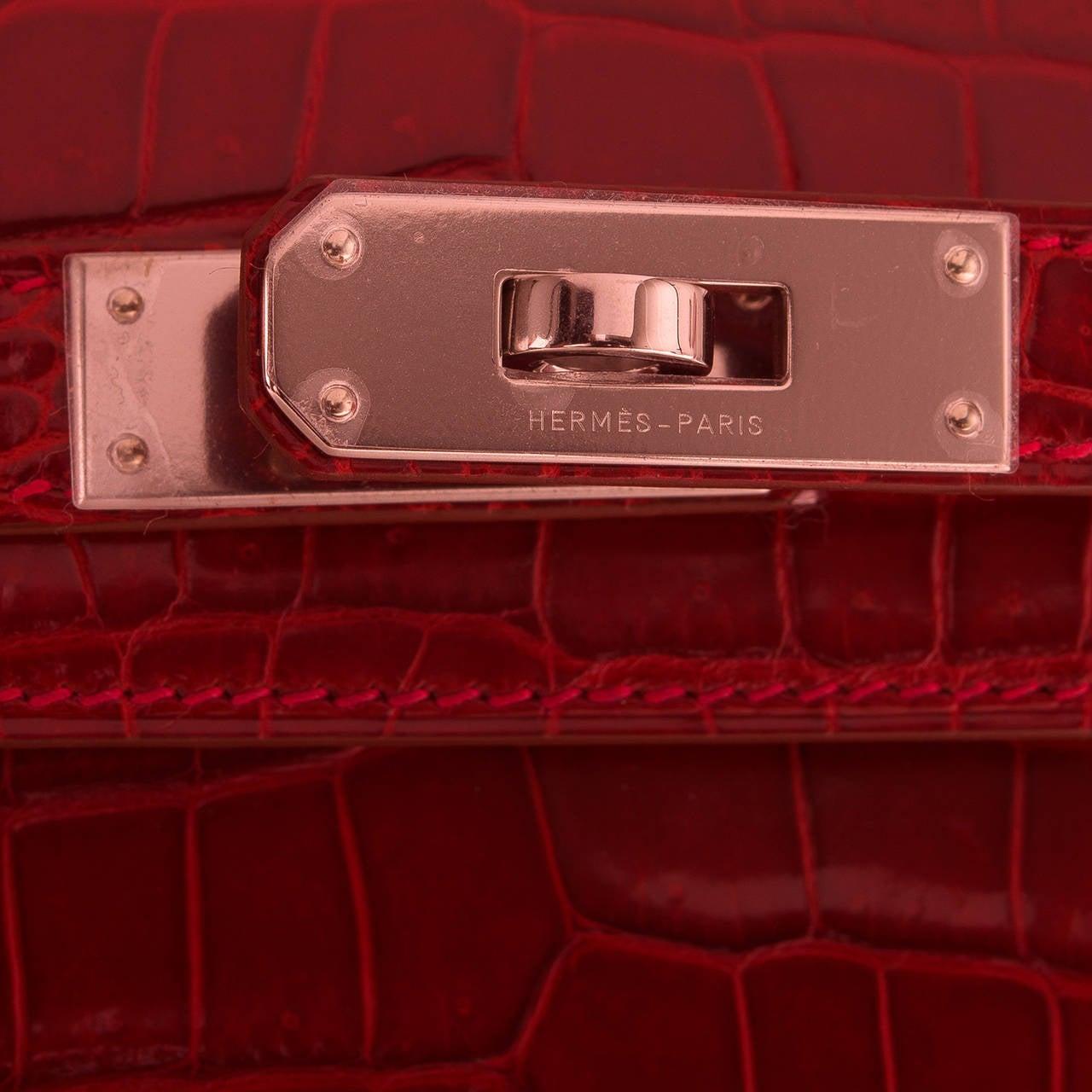 hermes rouge h shiny porosus crocodile kelly cut