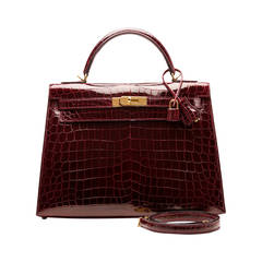 Hermes Bordeaux Shiny Niloticus Crocodile Kelly Sellier 32cm