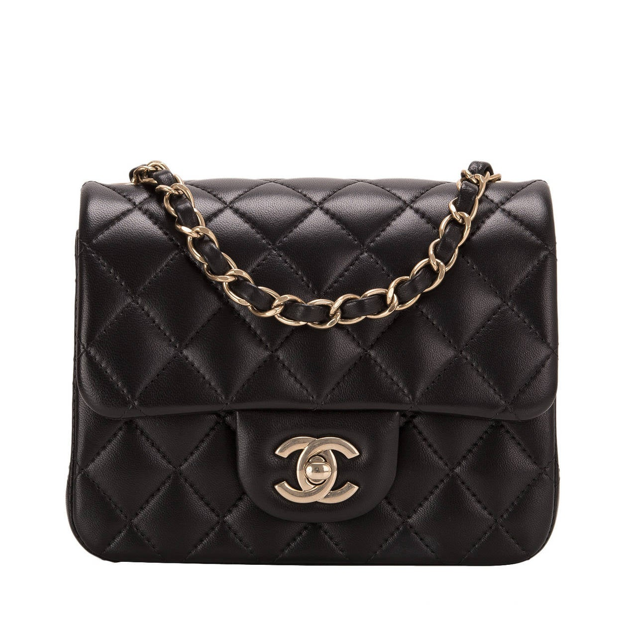 Chanel Black Quilted Lambskin Square Mini Classic Flap Bag