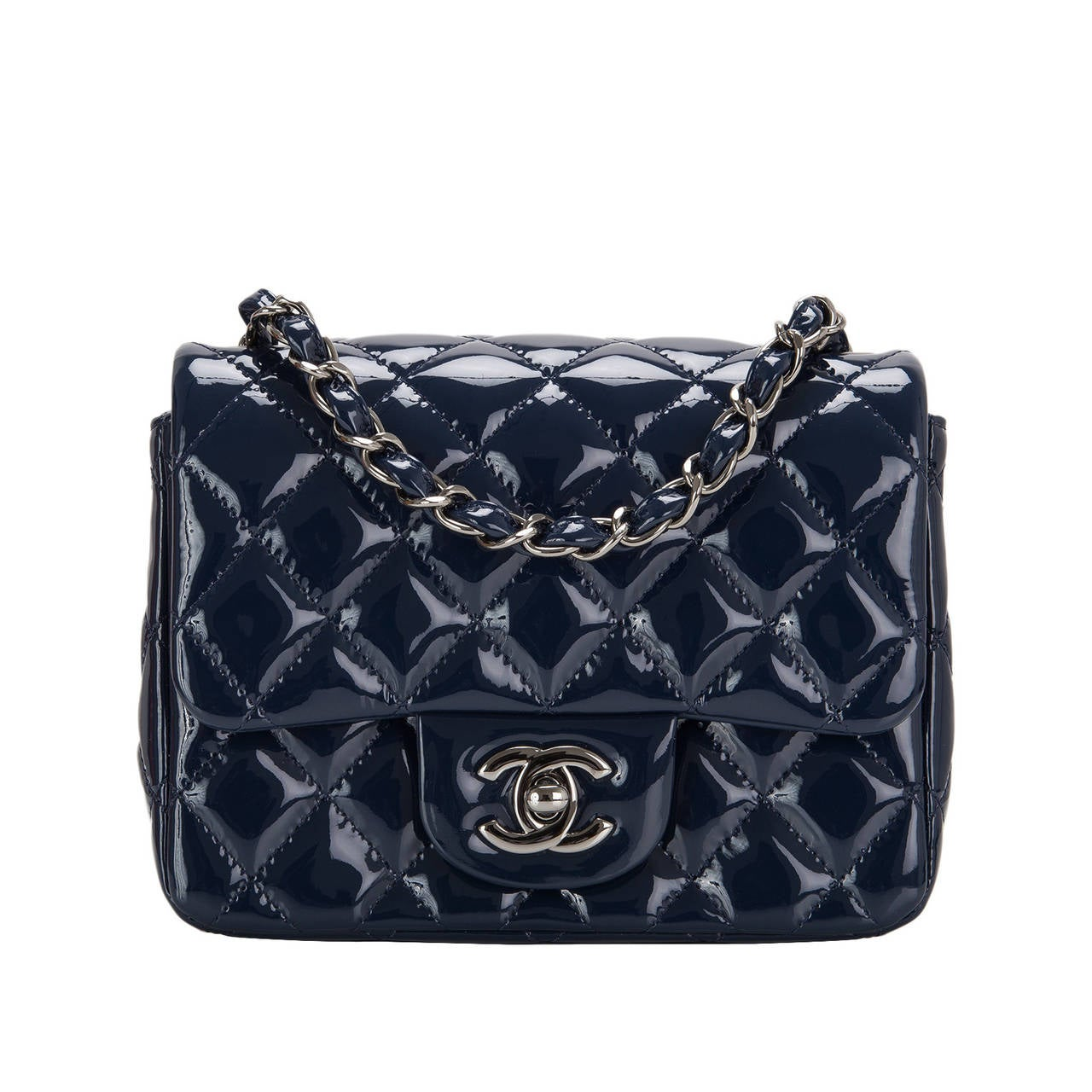 Chanel Navy Quilted Patenet Square Mini Classic Flap Bag For Sale