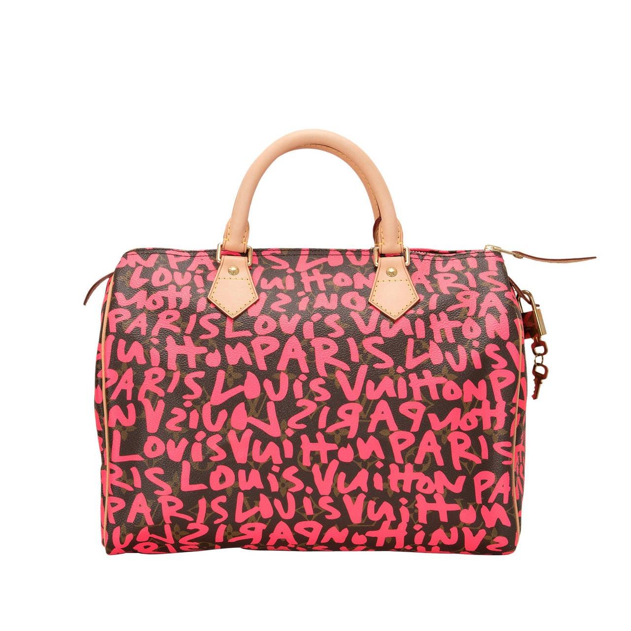 Louis Vuitton Fuchsia Pink Monogram Graffiti Speedy 30 For Sale