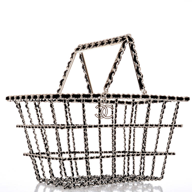 Chanel limited edition Shopping Cart basket in signature black leather and silver tone chain link