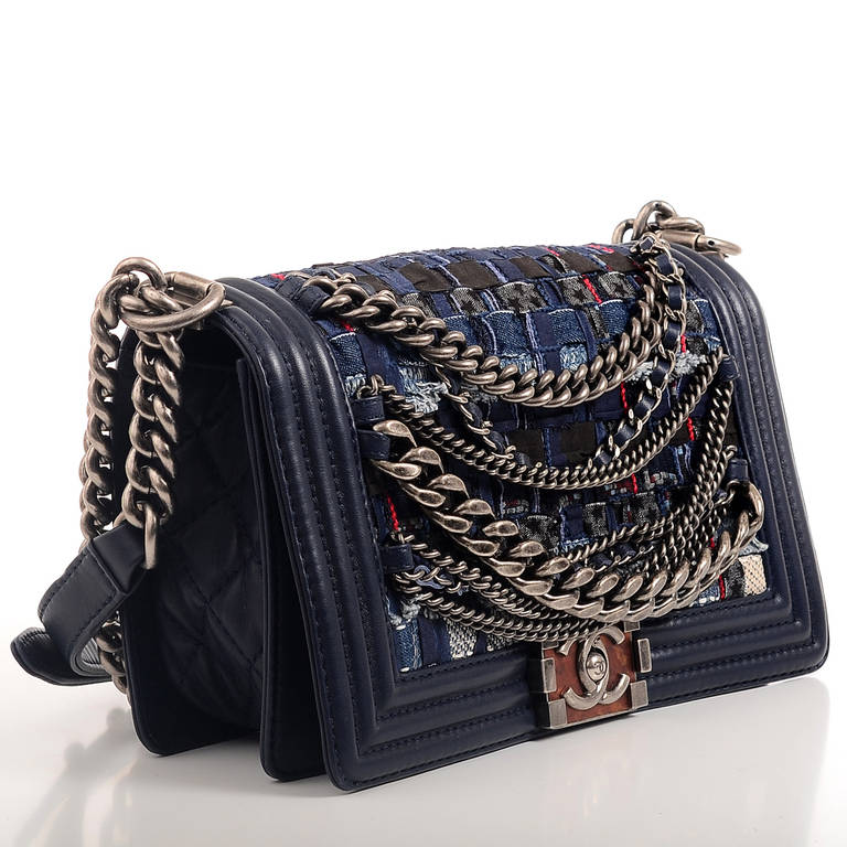 Chanel Navy Blue Tweed Dechained Chain Boy Flap Bag image 3