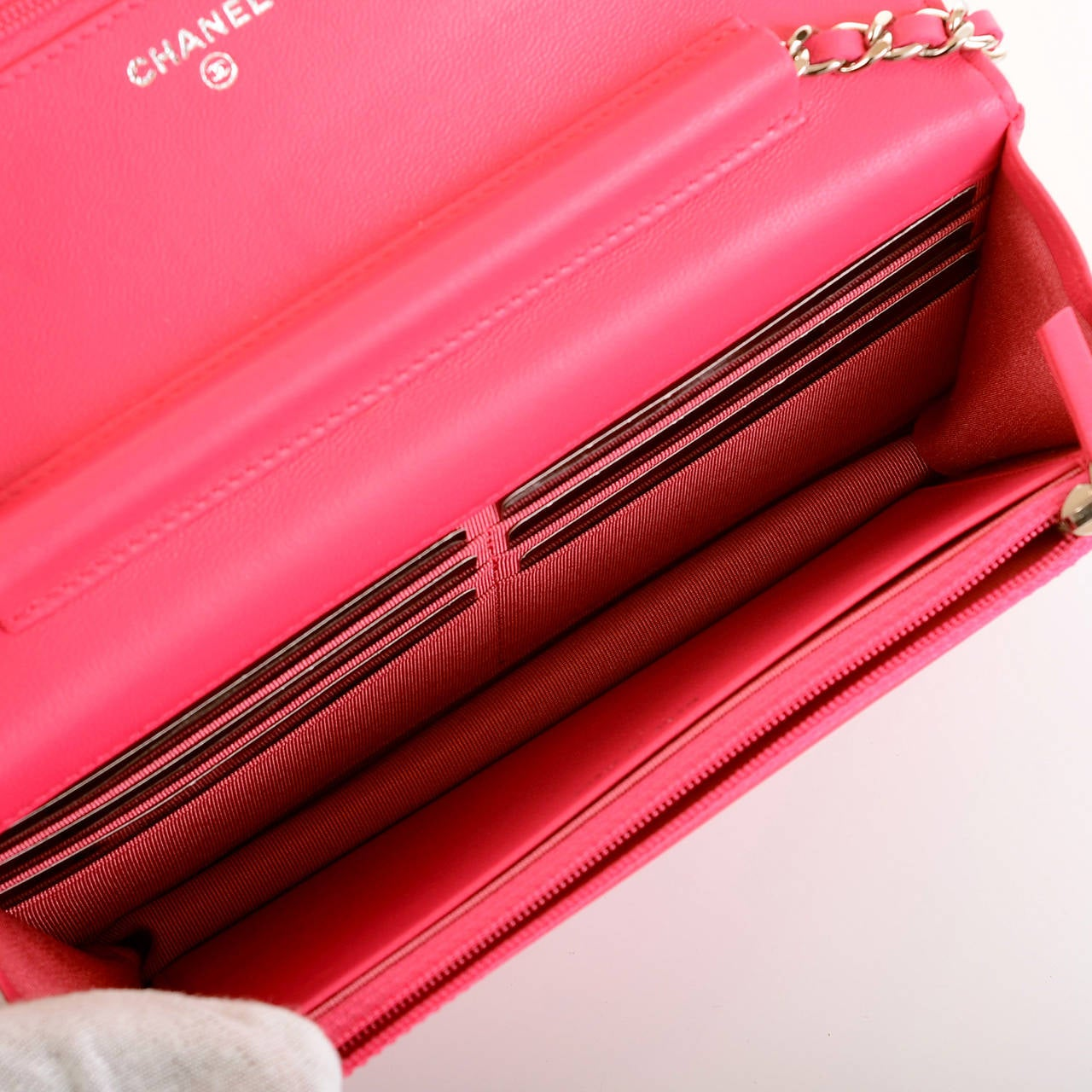Chanel Fuchsia Pink Classic Quilted Lambskin Wallet On Chain (WOC) For Sale 6