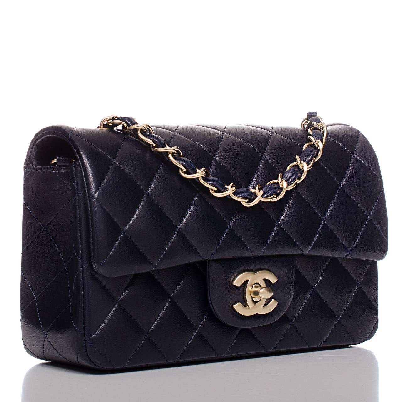 Chanel Navy Quilted Lambskin Small Classic Flap Bag At 1stdibs