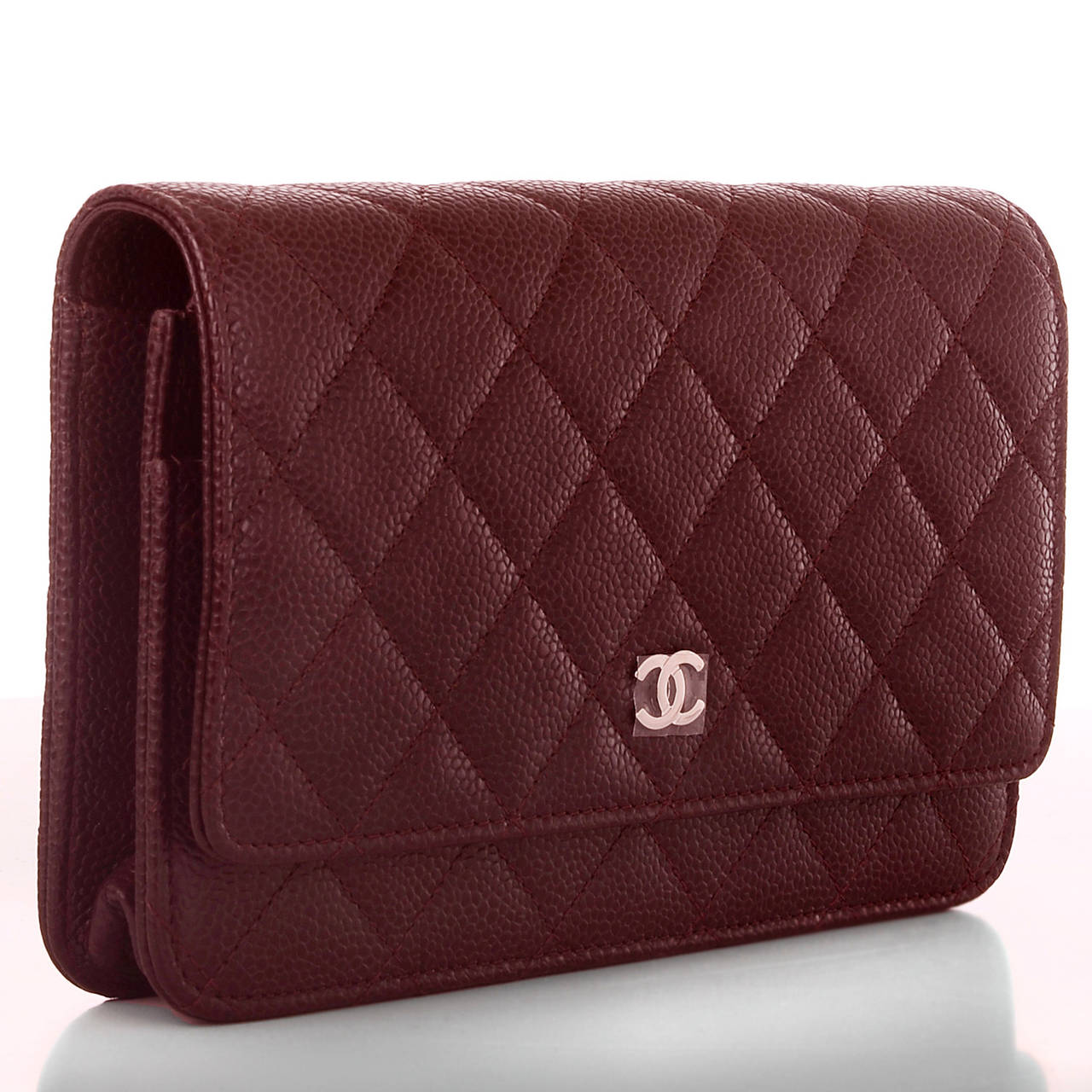 Chanel Burgundy Classic Quilted Caviar Wallet On Chain