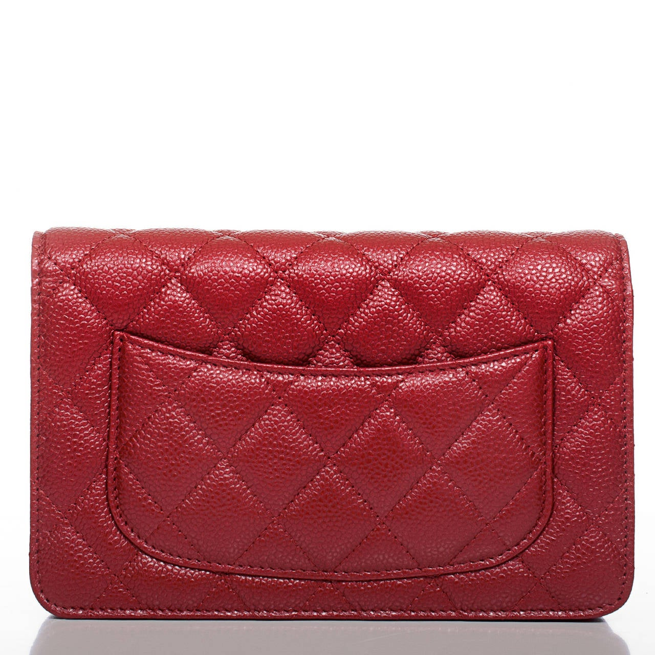 Red Chanel Dark Pink Classic Quilted Glazed Caviar Wallet On Chain (WOC) For Sale
