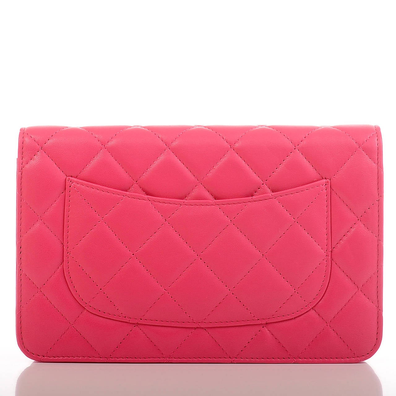 Chanel Fuchsia Pink Classic Quilted Lambskin Wallet On Chain (WOC) For Sale 1