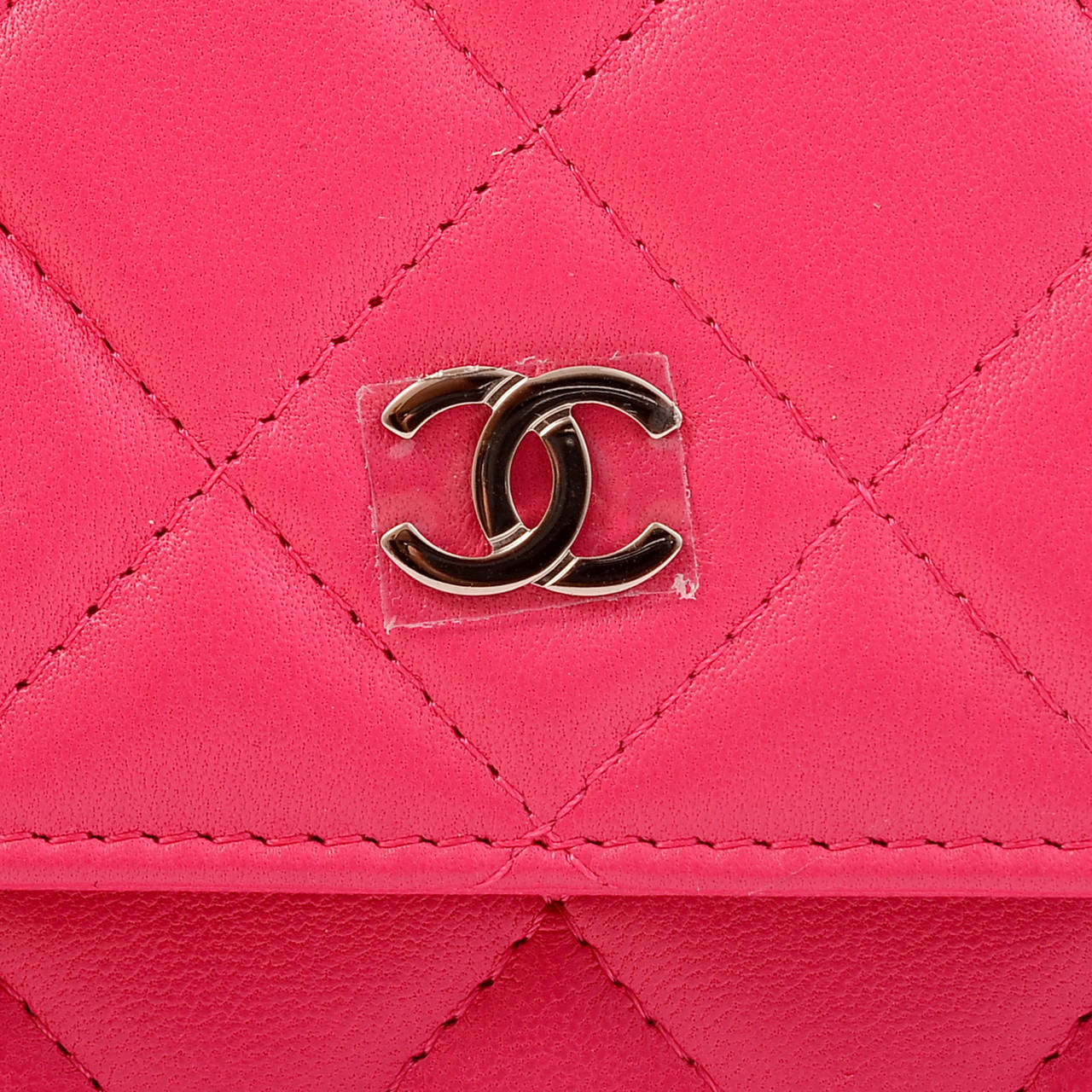 Chanel Fuchsia Pink Classic Quilted Lambskin Wallet On Chain (WOC) For Sale 4