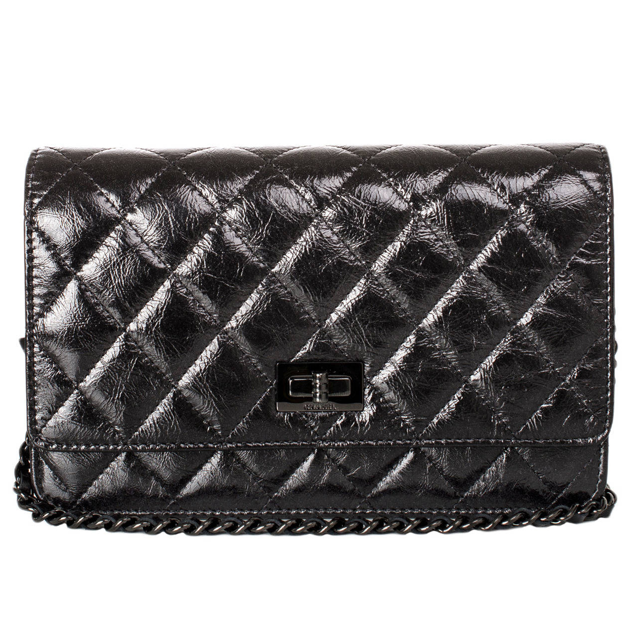 0d893609ead2 Chanel  quot So Black quot  2.55 Reissue Quilted Calfskin Wallet ...