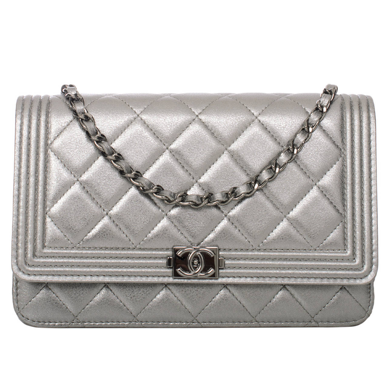 Chanel Silver Quilted Calfskin Boy Wallet On Chain Woc