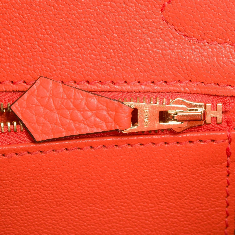 Hermes 35cm Poppy Orange Clemence Leather Kelly Bag with Palladium Hardware