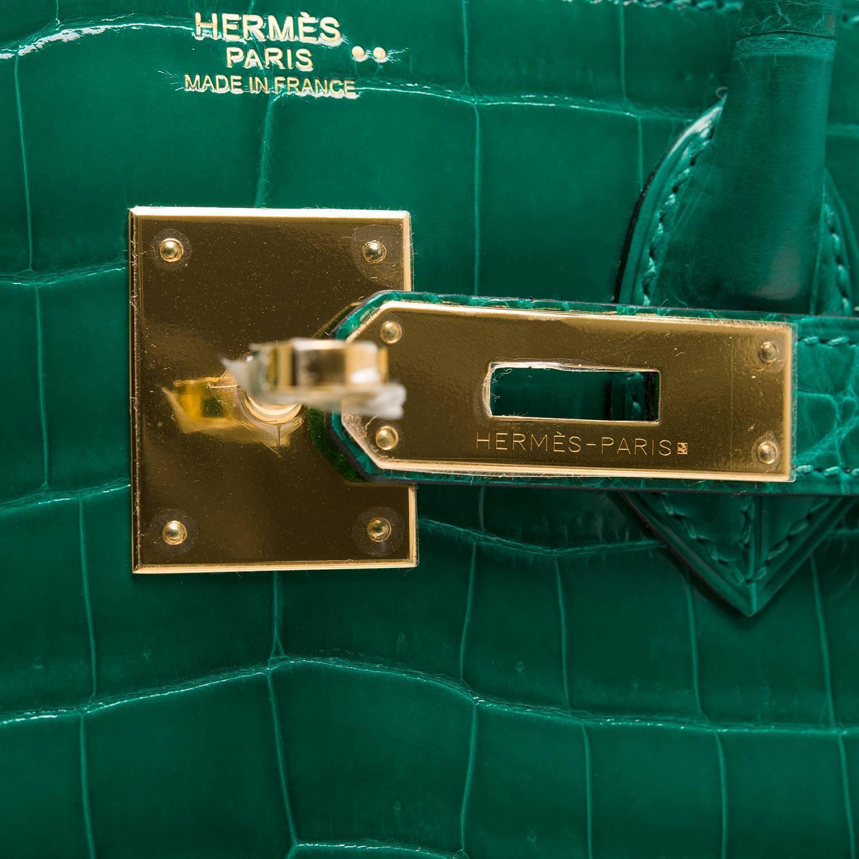 bags that look like hermes birkin - Hermes Emerald (Vert Emerude) Shiny Nilo Crocodile Birkin 30cm ...