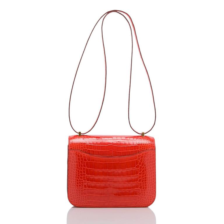 Red Hermes Orange Poppy Shiny Alligator Mini Constance 18cm Gold Hardware For Sale