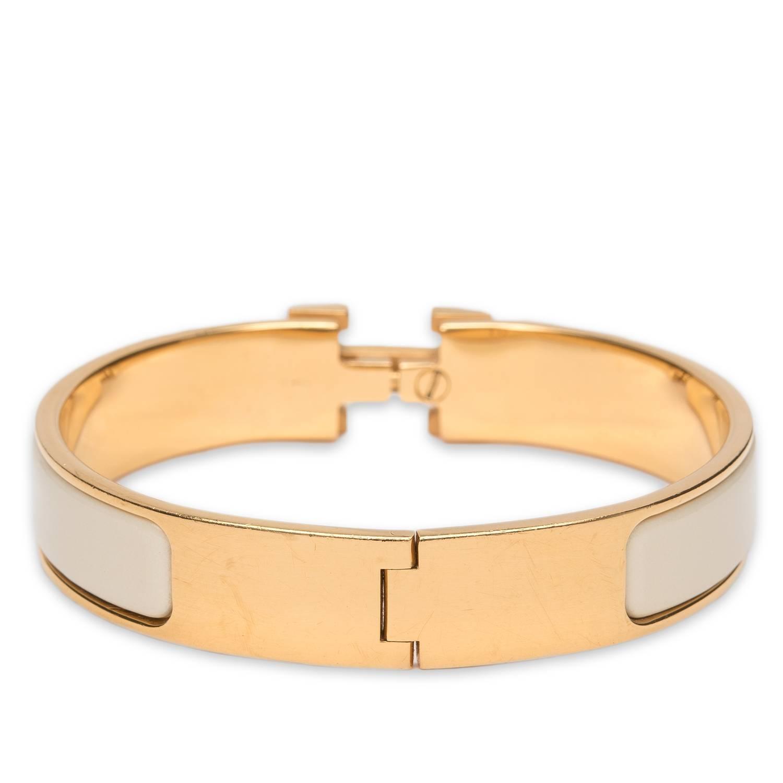 hermes clic clac h craie narrow enamel bracelet pm at 1stdibs