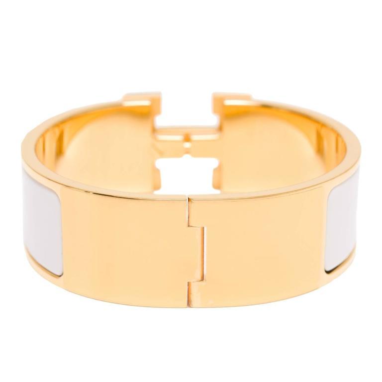 hermes clic clac h white wide enamel bracelet pm at 1stdibs