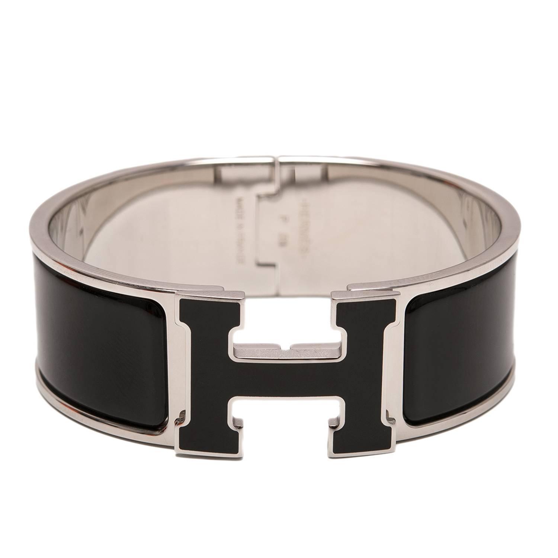 Hermes Clic-Clac H Black Wide Enamel Bracelet PM at 1stdibs