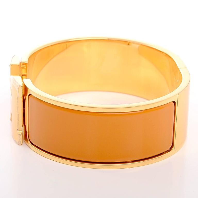 hermes turmeric clic clac h wide enamel bracelet pm at 1stdibs