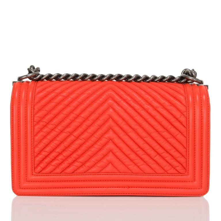 Red Chanel Orange Chevron Medium Boy Bag For Sale