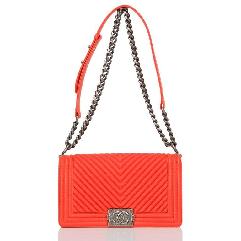 Women's Chanel Orange Chevron Medium Boy Bag For Sale