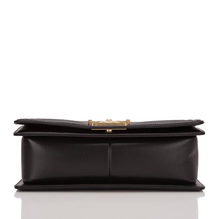 Women's Chanel Black Quilted Calfskin Medium Boy Bag For Sale