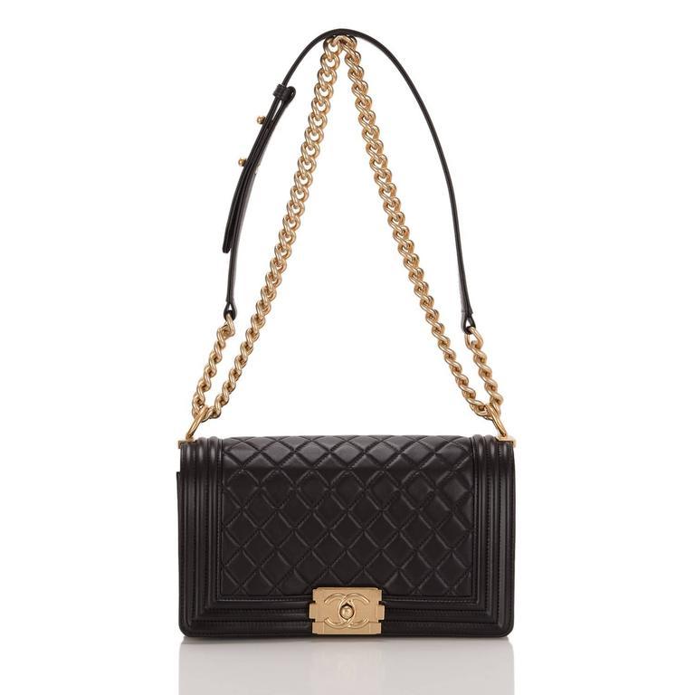 Chanel Black Quilted Calfskin Medium Boy Bag For Sale 1