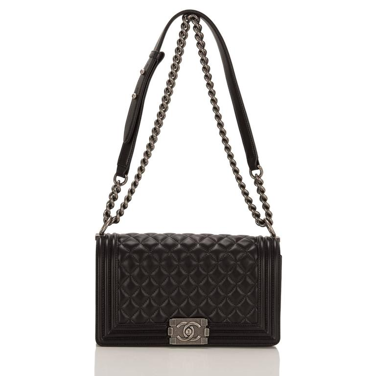 Women's Chanel Black Quilted Lambskin Medium Boy Bag For Sale