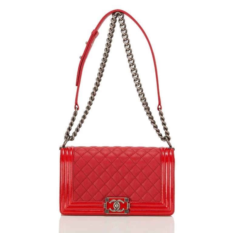 Chanel Red Quilted Goatskin Medium Boy Bag With Patent Trim For Sale 1