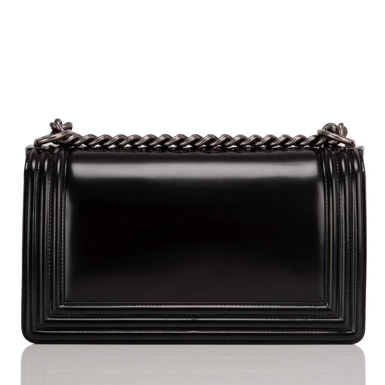 "Black Chanel Metiers d'art Paris-Salzburg ""CHANEL"" Embossed Medium Boy Bag For Sale"
