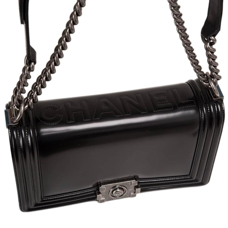 "Women's Chanel Metiers d'art Paris-Salzburg ""CHANEL"" Embossed Medium Boy Bag For Sale"