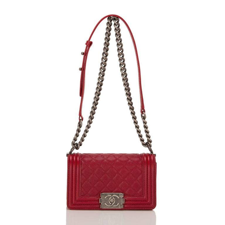 Chanel Dark Red Quilted Caviar Small Boy Bag For Sale 1