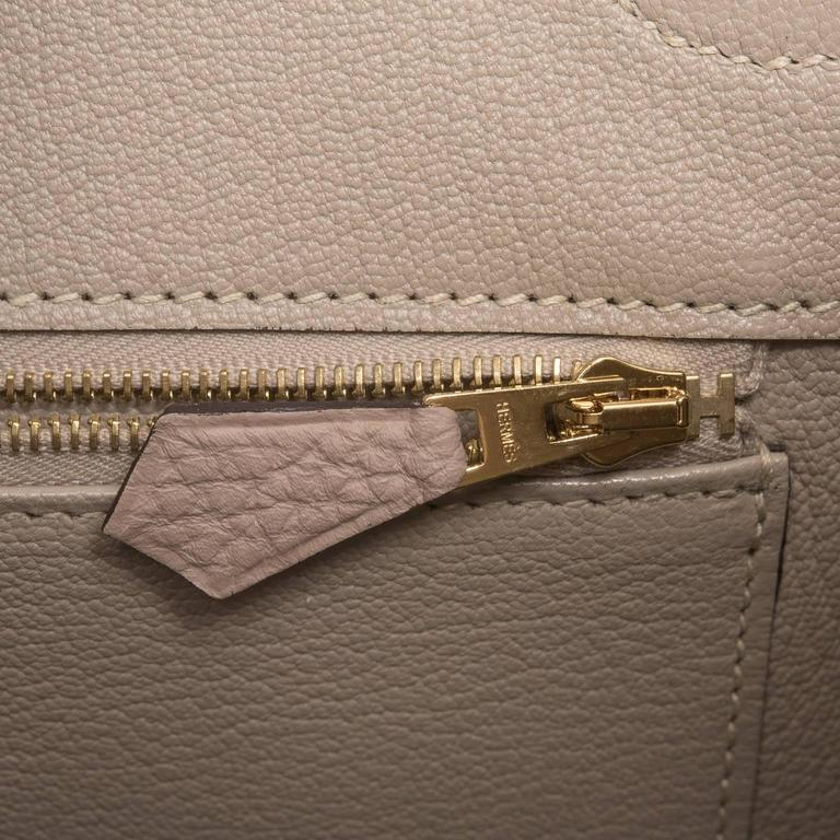 Hermes Gris Tourterelle Togo Birkin 35cm Gold Hardware For Sale 3