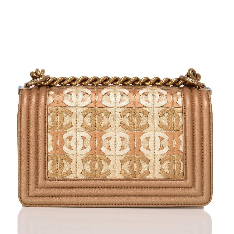 Chanel Dark Gold Metallic CC Embellished Lambskin Small Boy Bag In New never worn Condition For Sale In New York, NY